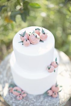 Summer wedding cake ideas @WeddingWire - love these sugar-covered peaches and sharp, white lines of the cake.