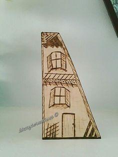 Wood Burning Wonky Houses #woodburning #pyrography #handmade #woodenhouse #artisan #garden #mixedmedia #wonkyhouses