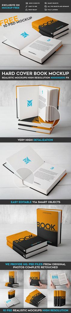 10 Free Hard Cover Book PSD Mockups | Free PSD Templates | #free #photoshop #mockup #psd #hard #cover #book