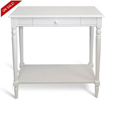 Hall Console Table with Drawer Entryway White Entry Wood Wooden Entrance Living Room Storage Furniture & eBook byEasy2Find