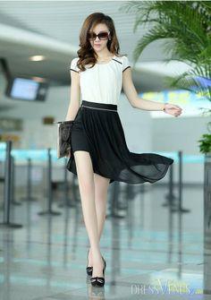 Lovely Korean Style Slim Large Size Asymmetrical  Dress