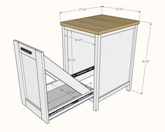 Best made plans Small Kitchen Island with Slide Out Double Trash Cans Kitchen Island On Wheels, Farmhouse Kitchen Island, Kitchen Island Decor, Modern Kitchen Island, Kitchen Islands, Trash Can Kitchen Island, Rolling Kitchen Island, Kitchen Ideas, Ana White