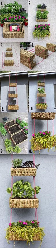 DIY Hanging Basket Garden- do a tiered basket or just use one! These reed baskets are often cheaper than hanging baskets from the garden shop! Hanging Basket Garden, Garden Planters, Hanging Baskets, Hanging Planters, Basket Planters, Woven Baskets, Hanging Gardens, Wicker Baskets, Planter Boxes