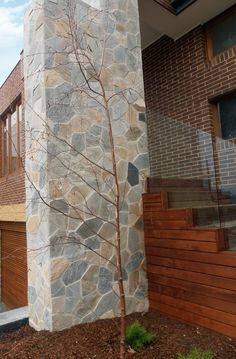 Brick + Timber + Stone = You've ticked the requirement of different materials! Stone used is our famous Crazy Paving in the colour Bisque