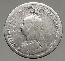 1891 UK Great Britain United Kingdom VICTORIA Threepence Silver Coin i56801