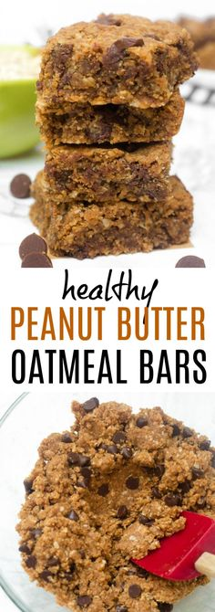 These Healthy Peanut Butter Oatmeal Bars are gooey and delicious! Perfect easy healthy dessert recipe, ready in 30 minutes! These Healthy Peanut Butter Oatmeal Bars are gooey and delicious! Perfect easy healthy dessert recipe, ready in 30 minutes! Oatmeal Bars Healthy, Peanut Butter Oatmeal Bars, Peanut Butter Muffins, Healthy Bars, Chocolate Chip Oatmeal, Chocolate Chips, Healthy Snacks, Diy Snacks, Homemade Oatmeal Bars