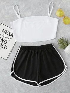 Shop Crop Cami Top With Striped Shorts online. SheIn offers Crop Cami Top With S. - Shop Crop Cami Top With Striped Shorts online. SheIn offers Crop Cami Top With Striped Shorts & mor - Cute Lazy Outfits, Teenage Outfits, Teen Fashion Outfits, Sporty Outfits, Swag Outfits, Girly Outfits, Dance Outfits, Outfits For Teens, Trendy Outfits