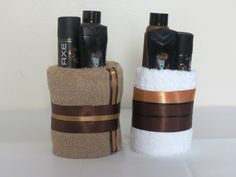 Mini Towel Cake for men.  A great gift for the man in your life -- Birthdays, Father's Day or just because.