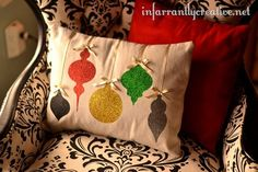 Christmas Glitter Pillow. This pinner used a die cutter; I don't have one so maybe a stencil and glitter paint. Gift exchange idea.