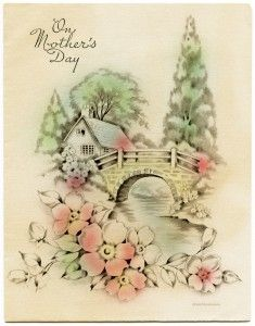 free printable digital image designer resource ~ vintage Mother's Day greeting card