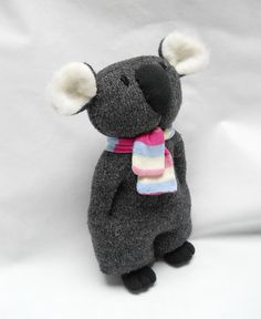 koala upcycled wool sweater plush animal by TreacherCreatures