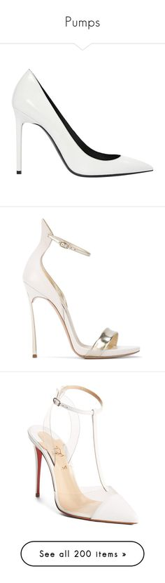 """""""Pumps"""" by luciaborrayo on Polyvore featuring shoes, sandals, white, women shoes heels, white shoes, yves saint laurent sandals, pre owned shoes, yves saint laurent shoes, white sandals y leather footwear"""