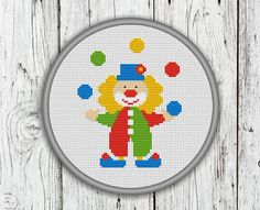 Clown Counted Cross Stitch Pattern  PDF Instant by CrossStitchShop