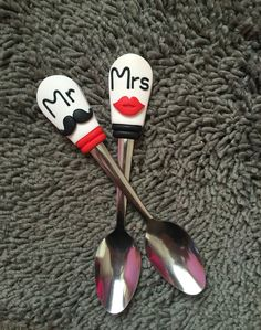 Valentine's day spoon polymer clay handmade homemade love cute couple pair mr mrs mouth mustache