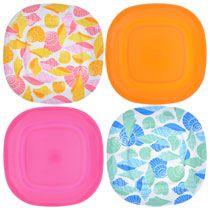 "Beach Bash Pink/Orange Square Melamine Plates, 11"""