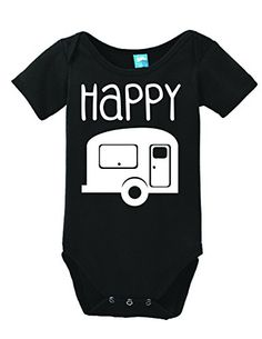 Learn more about  Happy Camper Onesie Funny Bodysuit Baby Romper Black 6-12 Month