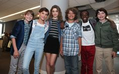 Gaten Matarazzo, Noah Schnapp, Caleb McLaughlin, Natalia Dyer, Millie Bobby Brown and Finn Wolfhard attend Build Seris to discuss their show 'Stranger Things' at AOL HQ on August 31, 2016 in New York City 268609
