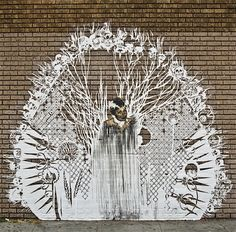 """""""Street art by Swoon, this piece was close to 24th Street in the Mission District of San Francisco. Now it's been replaced by another of her works. This one was inspired by the women who have been murdered on the border towns of Mexico."""""""