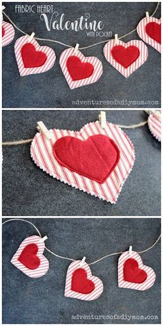 Make your own adorable little fabric valentines with a pocket to stash a little treat. #valentinecraft #valentinecrafts #valentinesday #adventuresofadiymom #fabriccrafts #sewingcrafts