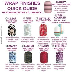 Tip Tuesday Y\'all! Jamberry wraps come in a variety of finishes that affects how they should be heated- this little infographic of the 1-2-3 method has been a big help to me!  #sparklersigchallenge #tiptuesday #manicure #jamicure #easyas123 #glossy #matte #Luster #metallic #fallbeauty #glamorous #easypeasy #helpinghand #naturalbeauty #infographic #tint #clear #satin #sparkle