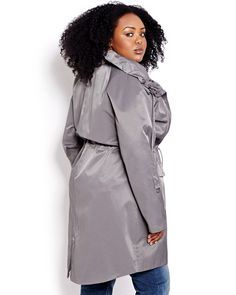 Don't let rainy (or snowy) days dampen your style. Grey hooded plus-size anorak.