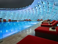 The Yas Viceroy Hotel in Abu Dhabi features 2 rooftop pools with sunset views