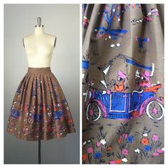 50s Car Novelty Print Border Skirt / 1950s by CheshireVintageShop