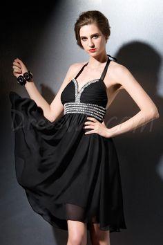 Elegent Halter Backless Beading Mini Cocktail Dress 10713366 - Little Black Dresses