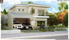Planta de Sobrado - 3 Quartos - 155.28m² - Monte Sua Casa Two Story House Design, Modern Small House Design, Contemporary House Plans, Philippine Houses, Modern House Facades, House Elevation, Craftsman House Plans, Architect House, Stone Houses