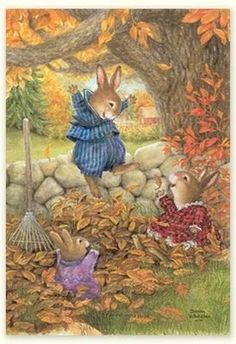 Susan Wheeler Holly Pond Hill Bunny Thanksgiving Greeting Card Autumn Leaves New Susan Wheeler, Art And Illustration, Beatrix Potter, Lapin Art, Art Fantaisiste, Thanksgiving Greetings, Bunny Art, Woodland Creatures, Whimsical Art