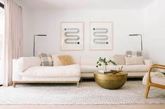 How To Choose The Right Rug Size For Your Living Room - 5 Formulas Guaranteed to Work - Emily Henderson Rugs In Living Room, Living Room Decor, Living Spaces, Living Area, Kitchen Decor Signs, Decorating Small Spaces, Decorating Ideas, Large Furniture, Beige