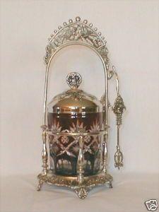 A vintage Pickle Castor. Brides Basket, Salt Cellars, Dressing Table Set, Pickle Jars, Creature Drawings, Vintage Table, Mayonnaise, Dinner Table, Cut Glass