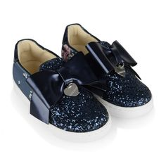 Monnalisa Navy Lily Of The Valley Glitter & Neoprene Shoes - Shoes