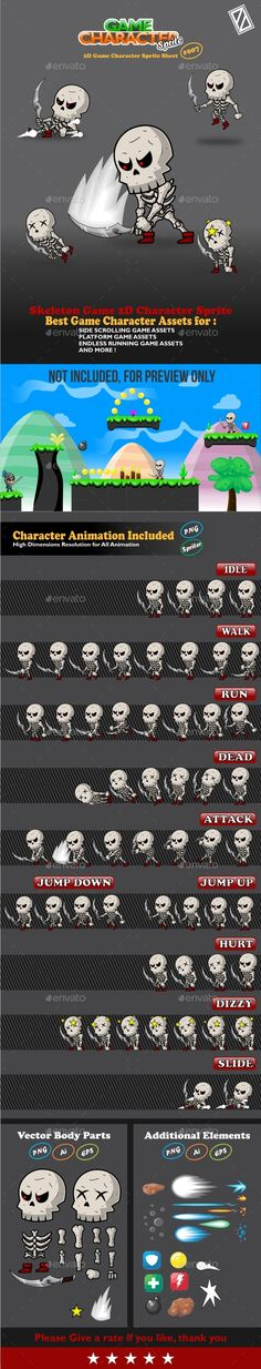Skeleton Game 2D Character Sprite - Sprites #Game Assets Download here: https://graphicriver.net/item/skeleton-game-2d-character-sprite/20214445?ref=alena994