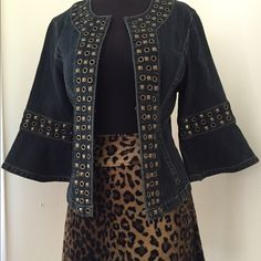 Funky Studded Denim Jacket With Bell Sleeve This is a great piece to wear with a skirt or long pants. Funky style with stud detailing. Jackets & Coats