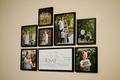 How to hang up your pictures easily -- make guides from wrapping paper, nail through at appropriate spots, and voila!