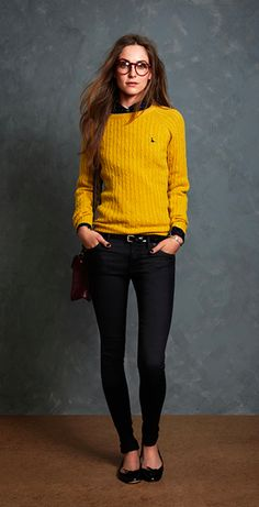 This yellow sweater is perfect for the cool weather :)