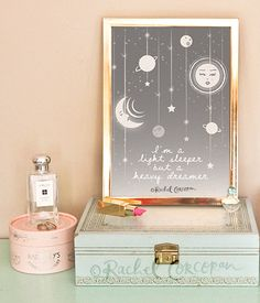 MOON and STARS Illustration - Starry Night - Sweet Dreams - Astrology - Dream Catcher - Nursery Decor - Night Sky - Sun - Grey - A4 Print