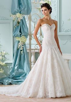 Martin Thornburg Bridal 116205 Chasca-Strapless allover Venise lace over  memory taffeta A-line gown 81463a5605c0