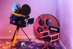 Giant Hollywood Film Camera Prop Hire | Giant Hollywood Film Reel Prop Hire | Hollywood Directors Chair Prop Hire #hollywoodparty #prophire #partyideas #partyprops #eventprofs