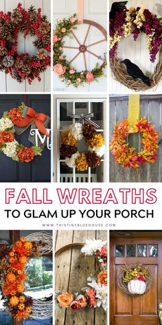Best Beautiful DIY Fall Wreath Ideas - This Tiny Blue House : Glam up your house this fall with one of these gorgeous best cheap fall wreath ideas. Use dollar store supplies to make a drool worthy front door wreath. Easy Fall Wreaths, Diy Fall Wreath, Wreath Ideas, Christmas Wreaths, Fall Crafts, Holiday Crafts, Diy And Crafts, Beach Crafts, Holiday Decor