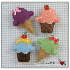Felt cupcakes and ice cream ❤️❤️❤️ Felt Crafts Patterns, Fabric Crafts, Felt Christmas, Christmas Crafts, Felt Cupcakes, Felt Play Food, Diy Bebe, Barrettes, Felt Brooch