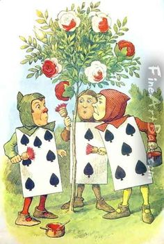 The Playing Cards Painting the Rose Bush, illustration from Alice in Wonderland by Lewis Carroll 1832-9