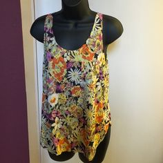 floral tank top so soft, pretty and great for spring/summer Tops Tank Tops