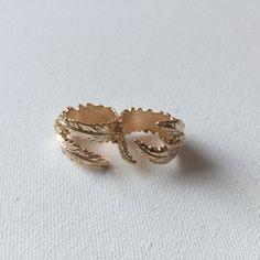 Gold Leaf Double Ring by AlyAshleyJewels on Etsy