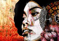 tzolkin50x70cm by Kathrina rupit , kinmx, Love , girl , afro hair, ink , spray paint , collage , street art , stencil ,female, mixed media, pop surrealism, tzolkin calendar,urban art