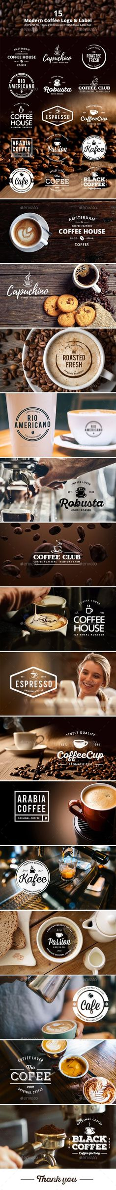 15 Modern Coffee Logo & Label Template PSD, Vector EPS, AI Illustrator. Download here: https://graphicriver.net/item/15-modern-coffee-logo-label/17684276?ref=ksioks