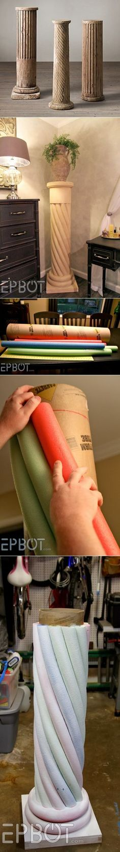 EPBOT: Make Your Own 'Stone' Decorative Column. With Pool Noodles! \/ Columns under flowers // Инна Жилина Cardboard Tubes, Cardboard Crafts, Paper Crafts, Fun Crafts, Diy And Crafts, Cardboard Furniture, Diy Projects To Try, Diy Gifts, Diy Home Decor