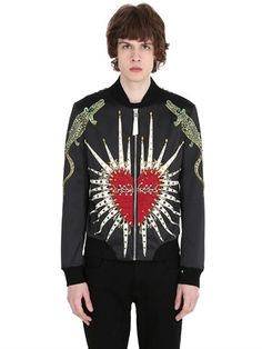 EMBELLISHED HEART BOMBER JACKET