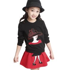 7.99$  Buy here  - Cute Girls Two-Piece Set Character Patchwork Long Sleeve Sweatshirt Elastic Waist Mini Skirt Outfits Red/Black